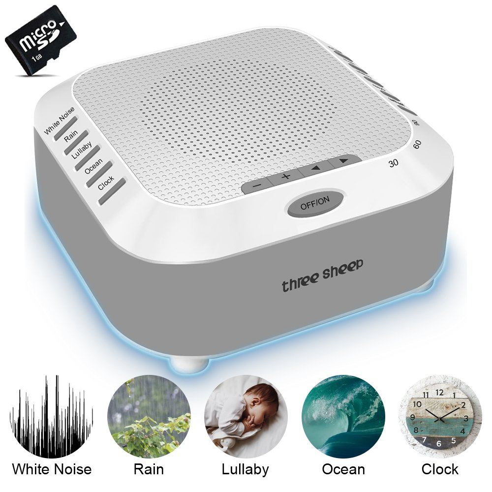 White Noise Machine, Sound Therapy Machine, Baby Sound Machine, with 5 Soothing Natural Sounds, 3 Timer, TF Card and Background Night Light (Grey) TECHPLUS DIRECT