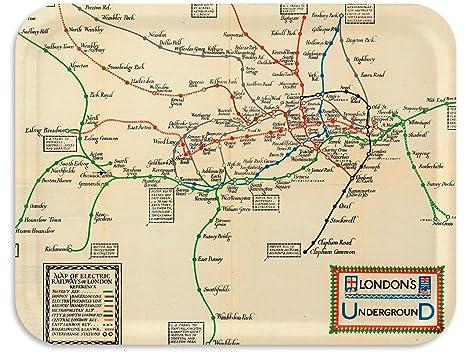 London Underground Subway Map.Amazon Com Trays4us London Underground 1922 Subway Map Birch Wood