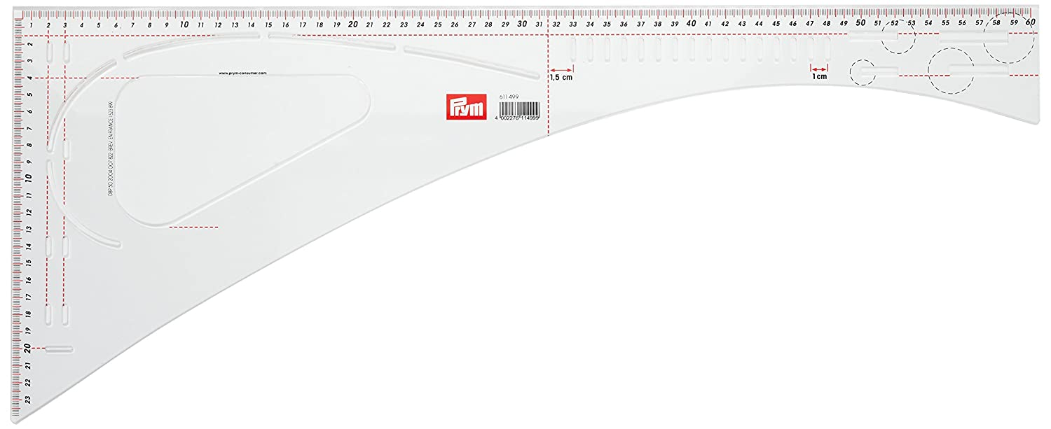 Prym 611499 Acrylic Dressmaker Ruler 60½ x 24½ cm Mark Uniform/Recurring Spacing PRYM_611499-1