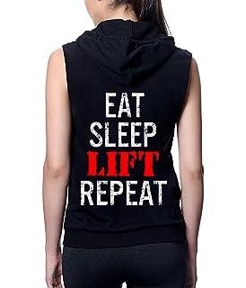 Interstate Apparel Mens Eat Sleep Lift Repeat TV14 Sleeveless Vest Hoodie