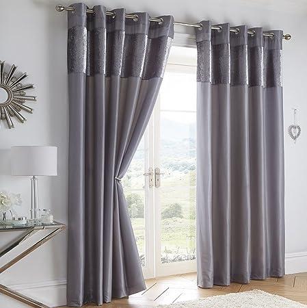 Boulevard Velvet Strip Eyelet Ring Top Curtains Fully Lined Grey 66 X 72