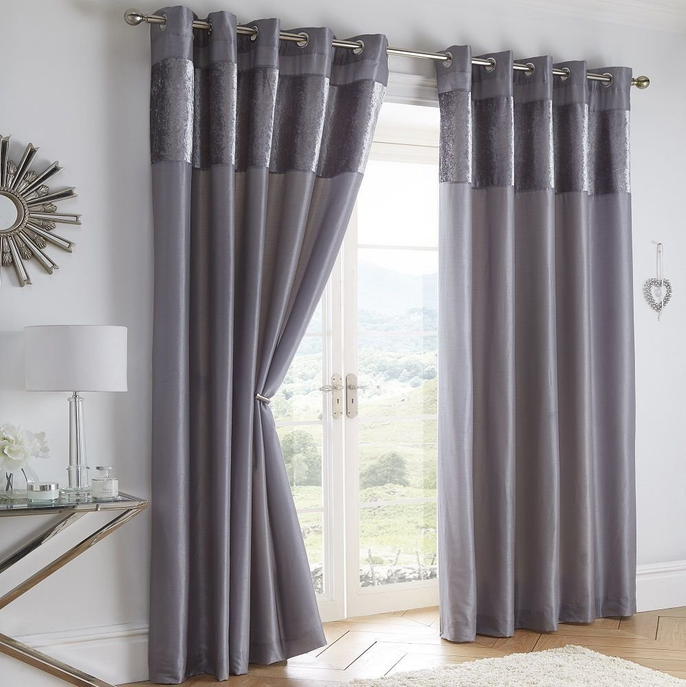 Boulevard Velvet Strip Eyelet Ring Top Curtains Fully Lined Grey 66 X 72