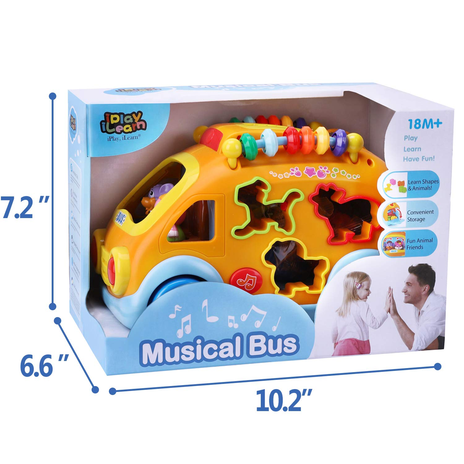 iPlay, iLearn Electronic Musical Bus, Baby Sensory Toy, 3D Animal Matching Car w/ Gear, Early Development, Learning, Educational Gift for 1, 2 Year Olds Girls Boys Toddlers Kids by iPlay, iLearn (Image #6)