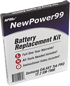 Battery Kit for Samsung Galaxy Tab PRO 12.2 SM-T900 with Tools, Video Instructions and Battery by NewPower99