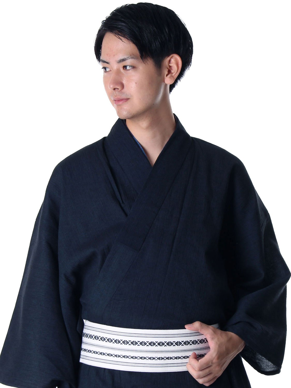 Kato Kyoto Men's Japanese Yukata Set with Obi,Geta and An original full-color instructional booklet in English Yoryu Large Dark Blue