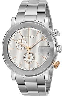 9930811d40a Amazon.com  Gucci G-Chrono Black Dial Leather Mens Watch YA101205 ...