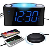 Extra Loud Alarm Clock for Heavy Sleepers with Bed Shaker, Digital Vibrating Alarm Clock with Dual USB Charger for Deaf Heari