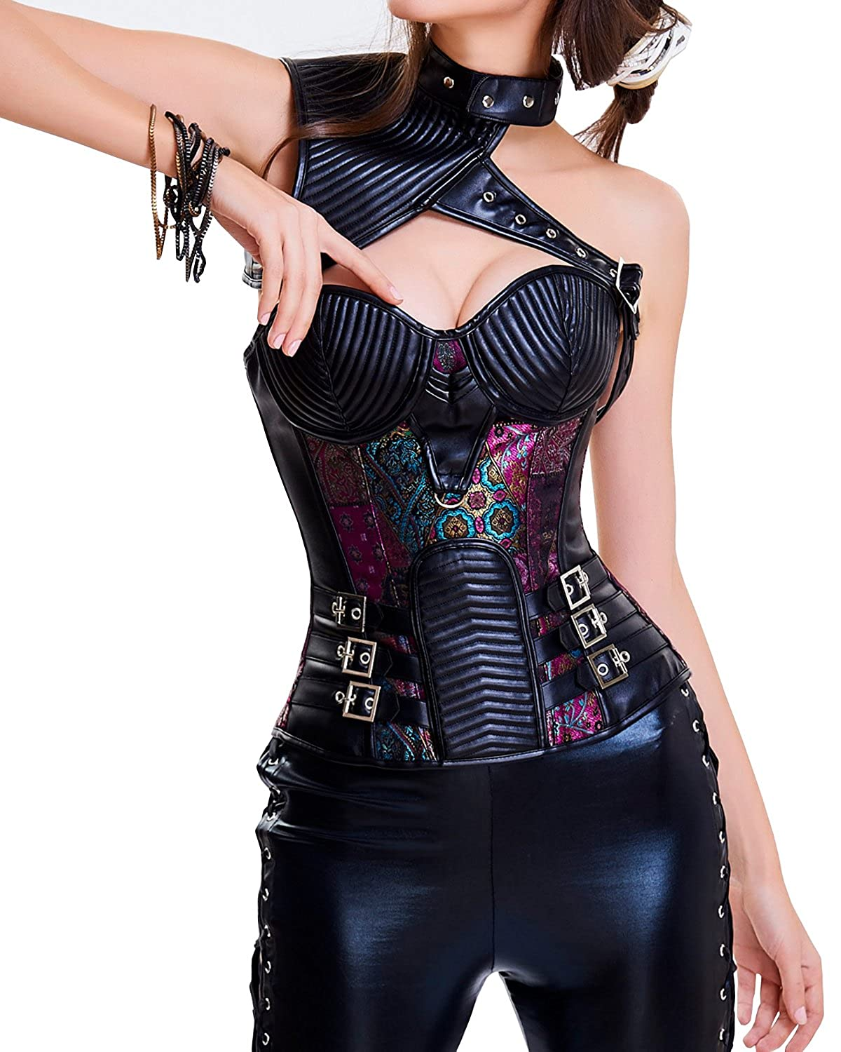 8b8cf2e968 Aecibzo Women s Steampunk Gothic Spiral Steel Boned Corset Tops Bustier  Overbust at Amazon Women s Clothing store