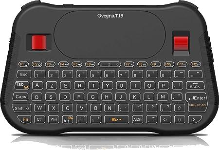 Ovegna T18: Mini teclado inalámbrico (AZERTY), inalámbrico de 2.4Ghz, Touchpad, batería recargable, RGB retroiluminado, para Smart TV, PC, Mini PC, ...