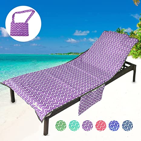 06d9f1af37fd Amazon.com : YOULERBU Thickened Beach Chair Cover Towel, Swimming Pool Lounge  Chair Cover with Side Pockets Holidays Sunbathing Quick Drying Terry Towels  ...
