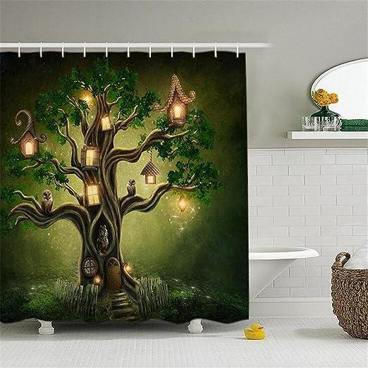 AIKE cortina de ducha digital 3D árbol creativo personalizado ...
