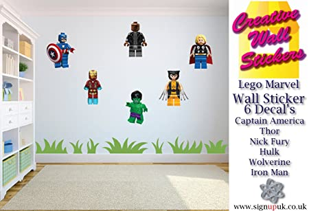High Quality Lego Wall Sticker Marvel Avengers Kids Bedroom 6 Separate Stickers Decals.