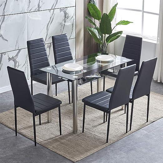 BOJU - Juego de 6 sillas y Mesa de Comedor de Piel sintética con ...