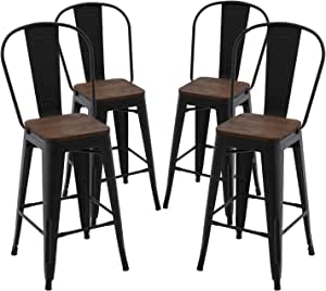CIMOTA Metal Counter Stools 26 inches with High Backs Industrial Patio Bar Chair Cafe Side Stool for Kitchen Indoor Outdoor (Matte Black, Set of 4)