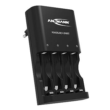 Ansmann Powerline 4 Smart Cargador de batería/Cargador de batería Inteligente para 1 – 4 Pilas Mignon AA & AAA Pilas/con Control Aislado, batería de ...