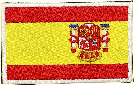ulable no gamuza de bandera de España insignia Conjunto bordado parche Sew 8 x 5 cm Hook & Loop, 1 pieza: Amazon.es: Hogar
