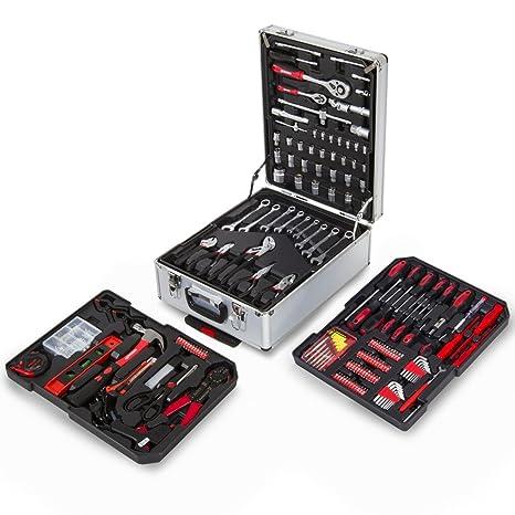 Greencut TOOLS-416 - Set de herramientas (416 piezas), maletín de aluminio con ruedas, trolley con asa telescópica, herramientas de acero cromo ...