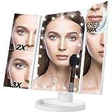 Beleuchteter Make-up-Spiegel, 10X 3X 2X 1X Make-up-Tischspiegel 22 LEDs beleuchteter Tri-Fold-Make-up-Spiegel mit Touchscreen und 180 ° verstellbarer Stand Dual Power Mode Travel Beauty Spiegel (weiß)