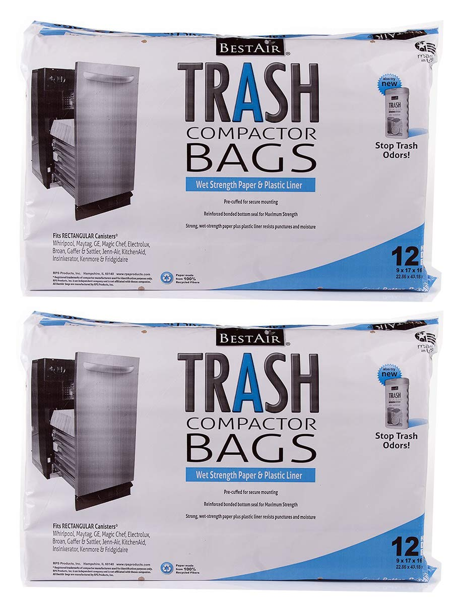 RPS PRODUCTS UENPVYZP BestAir Trash Compactor Bags(16'' D. x 9'' W. x 17'' H), 2 Pack of 12