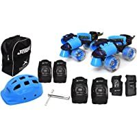 Jaspo Blue Derby Pro Adjustable Senior Roller Skates Combo Suitable for Age Group 6 to 14 Years