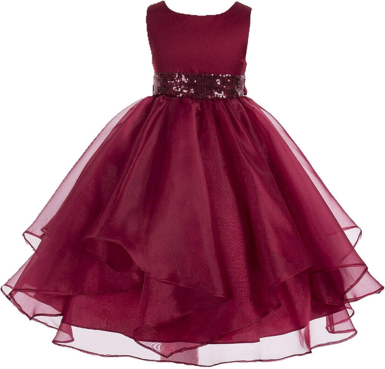 ekidsbridal Asymmetric Ruffled Organza Sequin Flower Girl Dress Toddler Girl Dresses