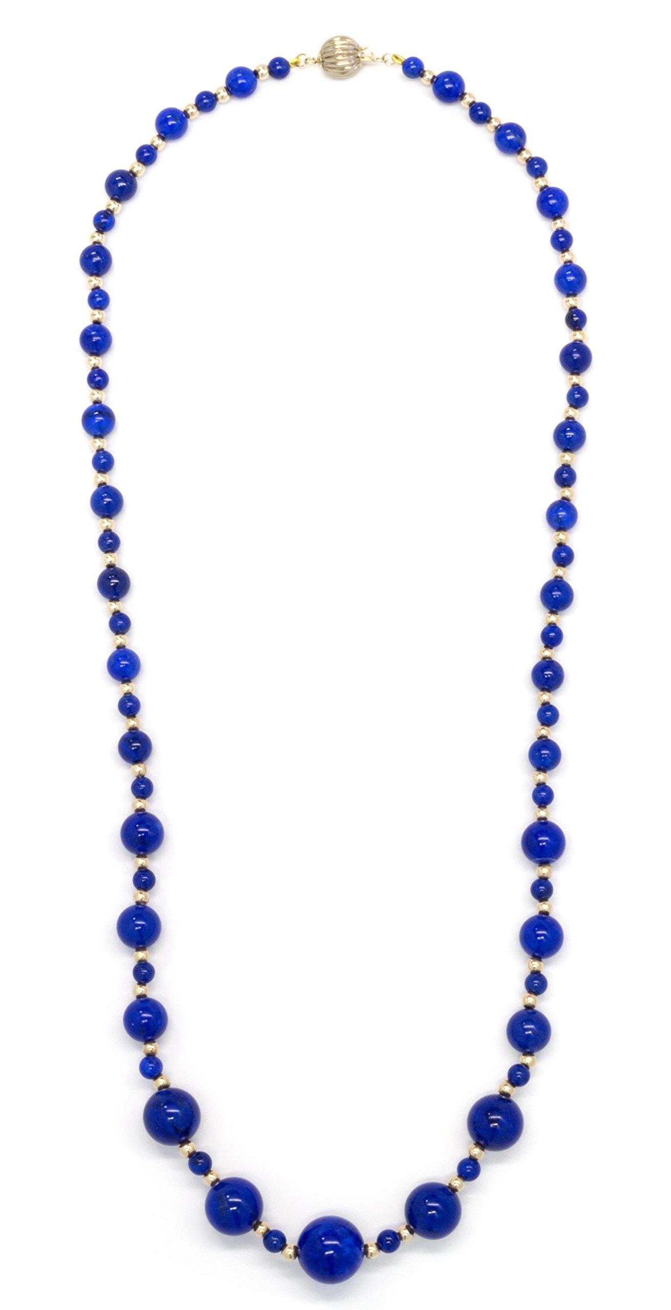 ISAAC WESTMAN 14K Yellow Gold Graduated Lapis Lazuli Gemstone Beaded Necklace | 20'' Matinee Length by ISAAC WESTMAN (Image #3)