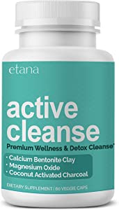 Etana — Active Cleanse — Detox Supplement — with Calcium Bentonite Clay, Activated Charcoal, & Organic Herbs — Natural & Safe Cleanse Capsules - 60 ct. — Vegetarian, No Artificial Colors or Flavors