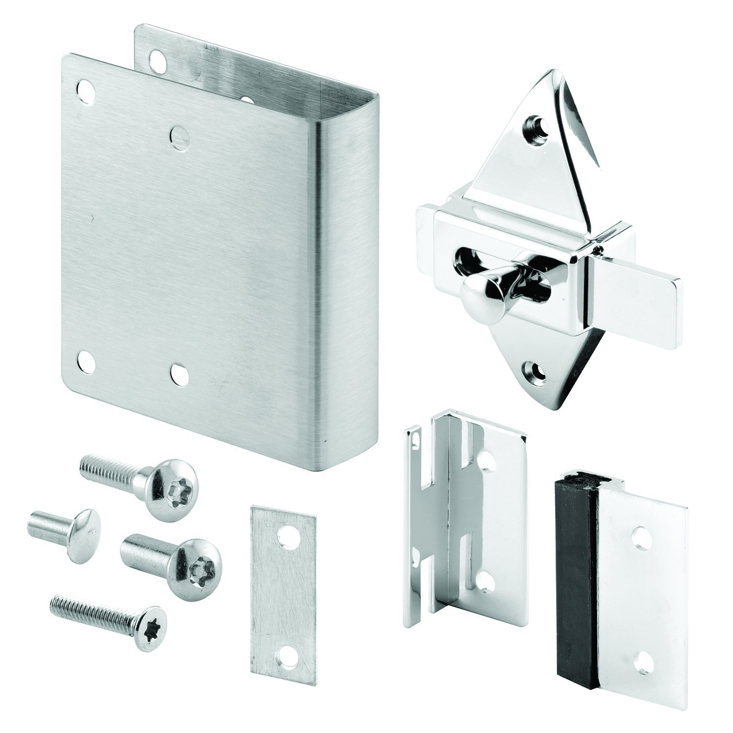 Sentry Supply 656-1003 Stainless Steel & Chrome Plated Zamak Square Edge Qwik Fix Kit for 1'' Doors