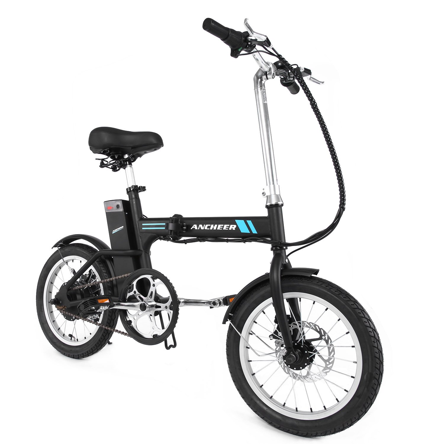 ANCHEER 16'' Electric Bike with 36V 2Ah Lithium-Ion Battery(Folding- Black)