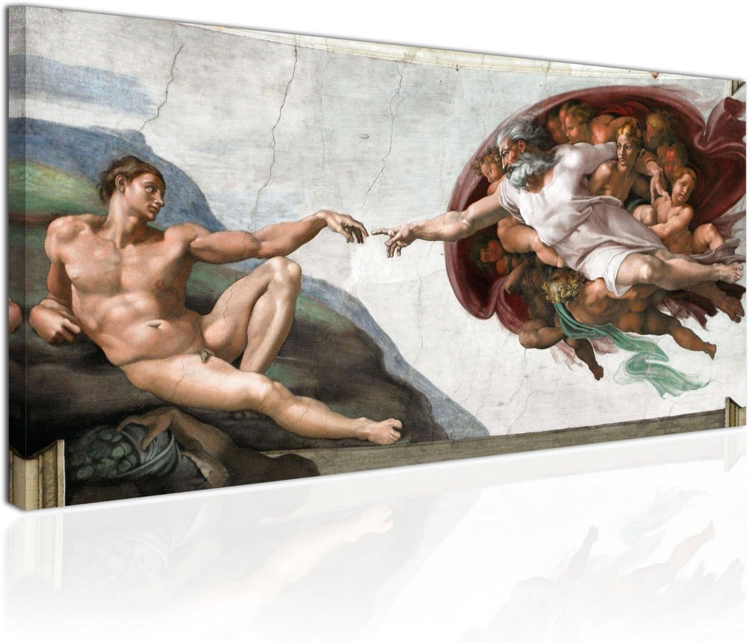 Topquadro Cuadro XXL sobre Lienzo, Imagen Panorámica 100x50cm, La Creación de Adán - Michelangelo Renacimiento Italiano, Estilo Clásico - Decoración de Pared, Imagen Panorámica - Una Pieza