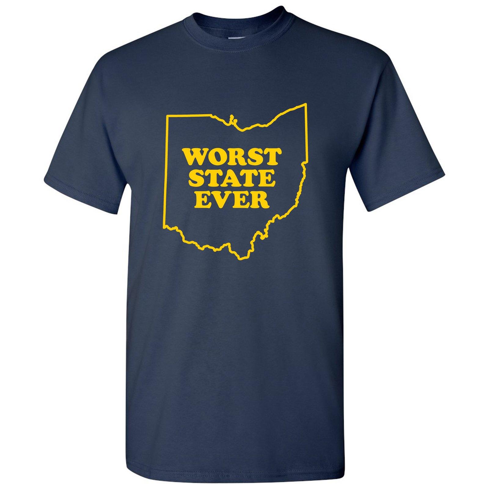 Ohio Worst State Ever Basic Cotton T-Shirt - Large - Navy Blue