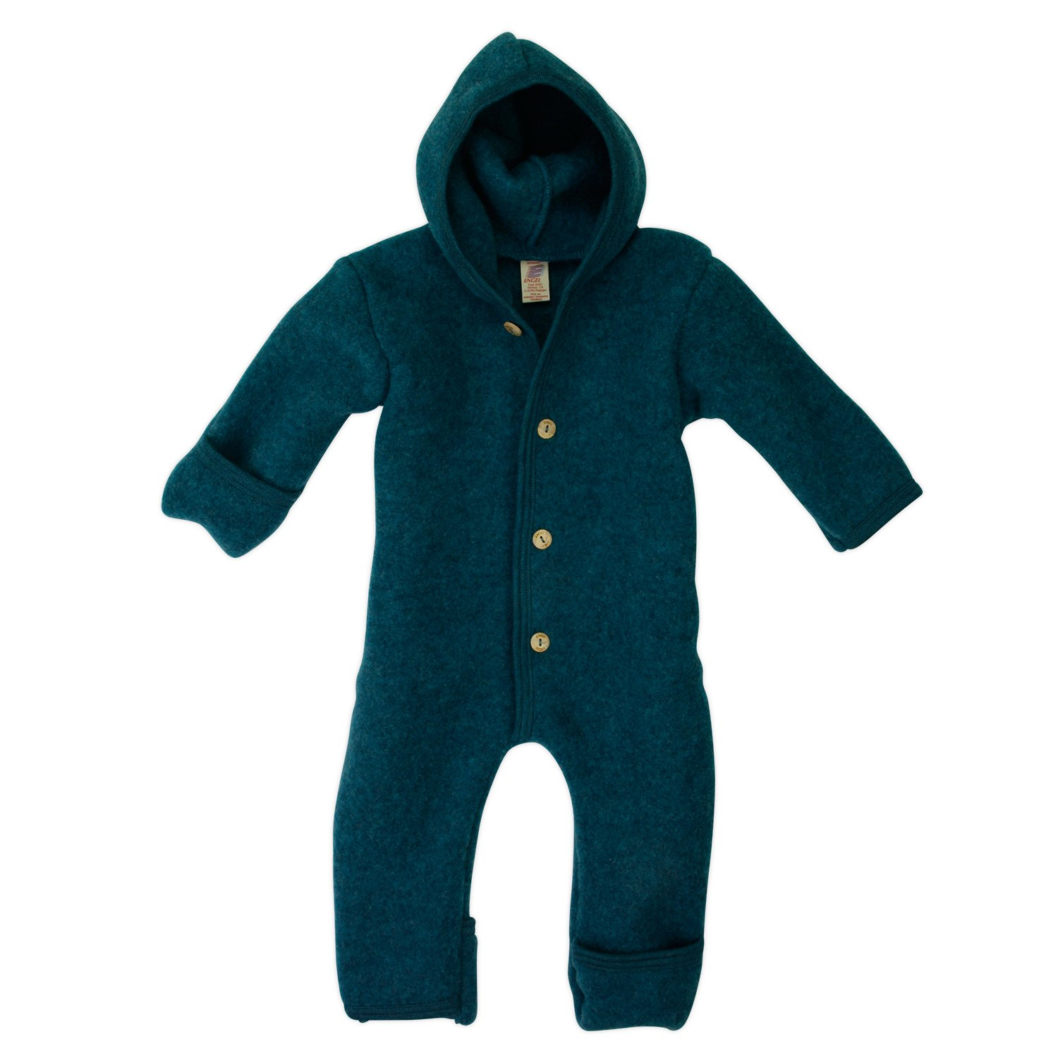 Engel - Baby Hooded Overall With Wooden Buttons, 100% Organic Merino Wool kb575722