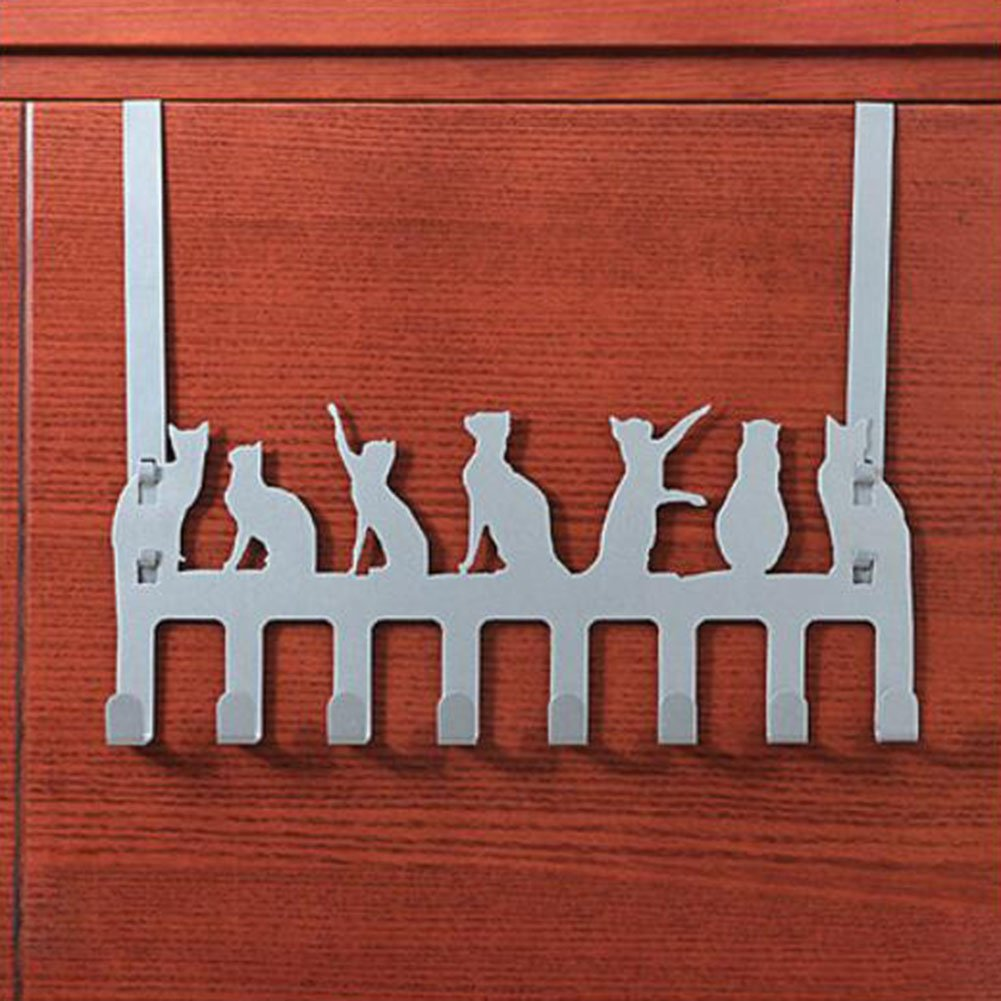 Frjjthchy Creative Cat Over Door Hook Hanger Decorative Organizer Hooks Rack with 8 Hooks (L, Silver)