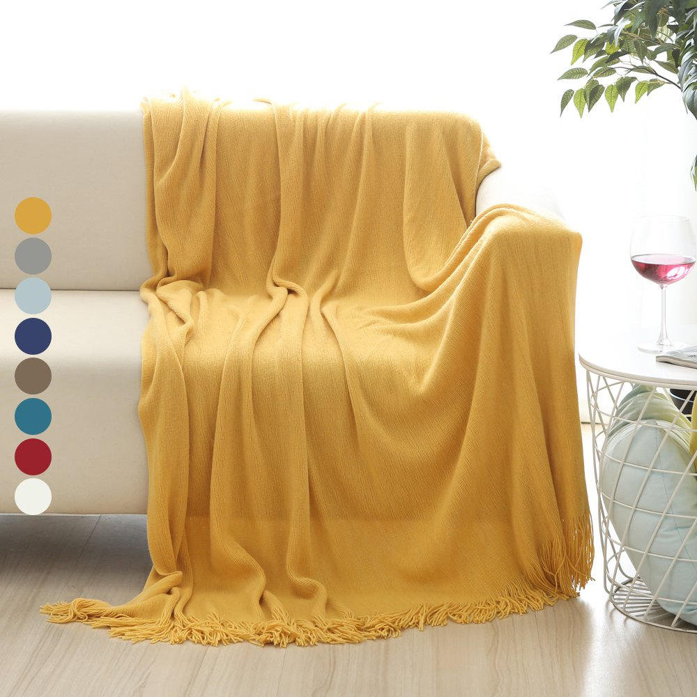 ALPHA HOME Soft Throw Blanket Warm & Cozy for Couch Sofa Bed Beach Travel - 50'' x 60'', Gold