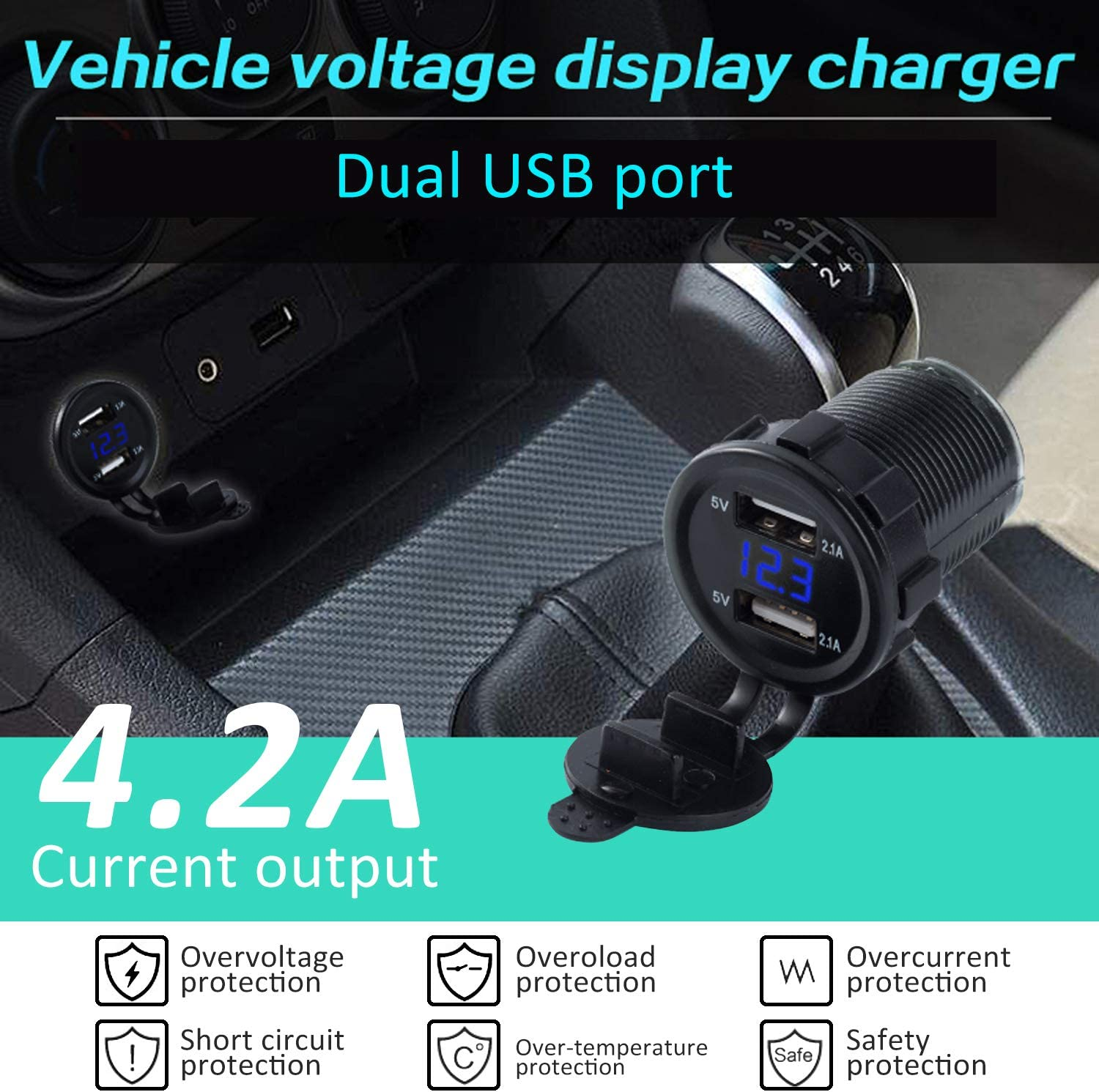 RCP Dual Port USB Charger Socket Power Outlet Socket Car Charger with 10A Fuse for 12 to 24V Car Motorbike RV Boat Truck
