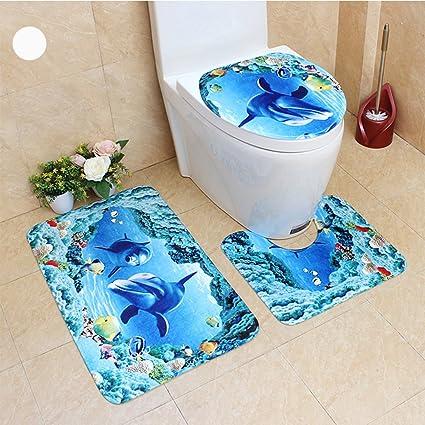 FidgetGear 3Pcs/Set Cute Creative 3D Sea Ocean Fish Shell Animals Bathroom Rug Toilet Lid Cover Mat Set Non-Slip Cartoon Foot Mat Water Absorb Anti-Skid Carpet 45 * 75cm Dolphin & Fish