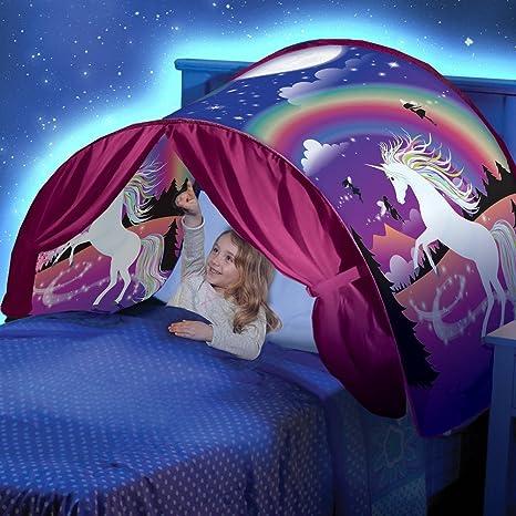 Mumustar Twin Size Pop Up Bed Tents for Boys Girls Double Bed Unicorn Printed Rainbow Moon Night Children Kids Sleeping Wonderland Unicorn Bed Tent