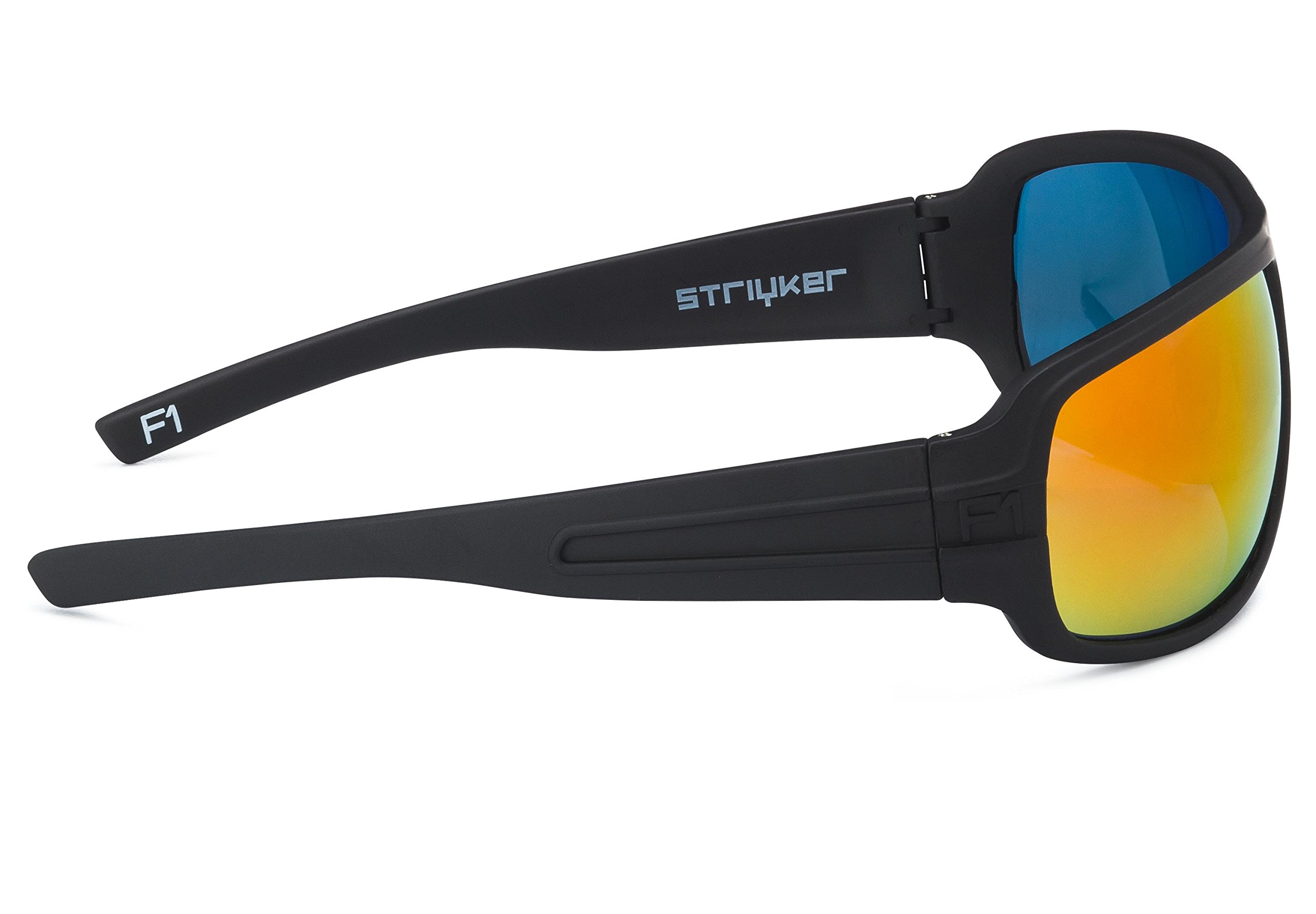 STRIYKER F1 Polycarbonate Polarized Sunglasses -100% UV 400 Protection- TR90 Universal Fit Memory Frame- Ultra Lightweight - Extremely Durable (Matte Black (Red REVO)) by STRIYKER Premium Eyewear (Image #3)