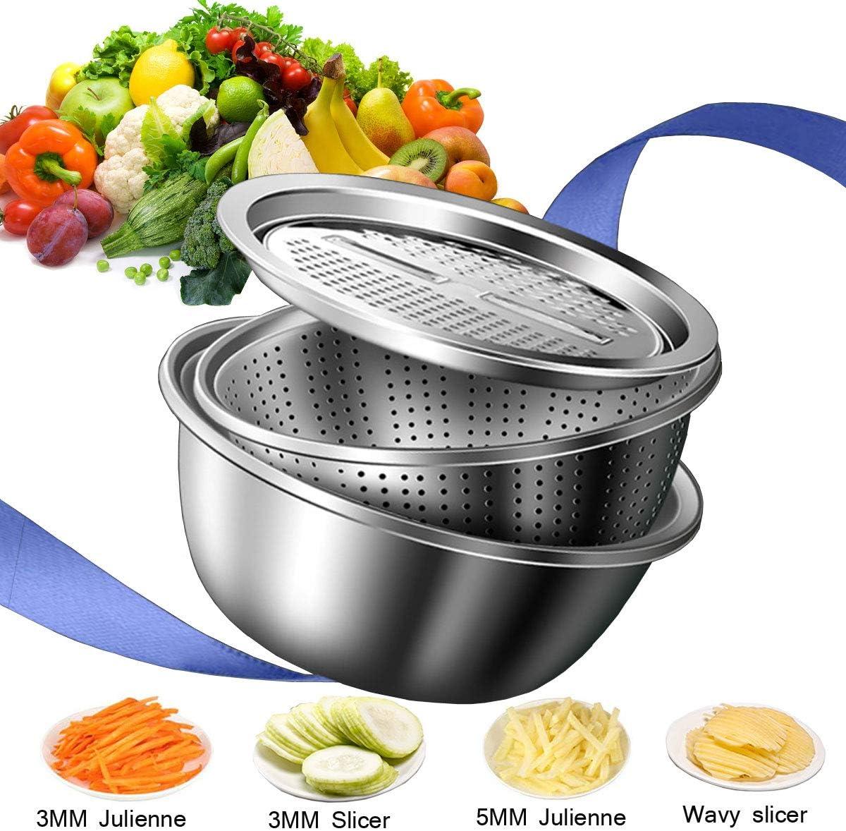 Jeslon Stainless steel drain basket vegetable cutter, 3 in 1 Kitchen Multipurpose Julienne Grater - salad maker bowl