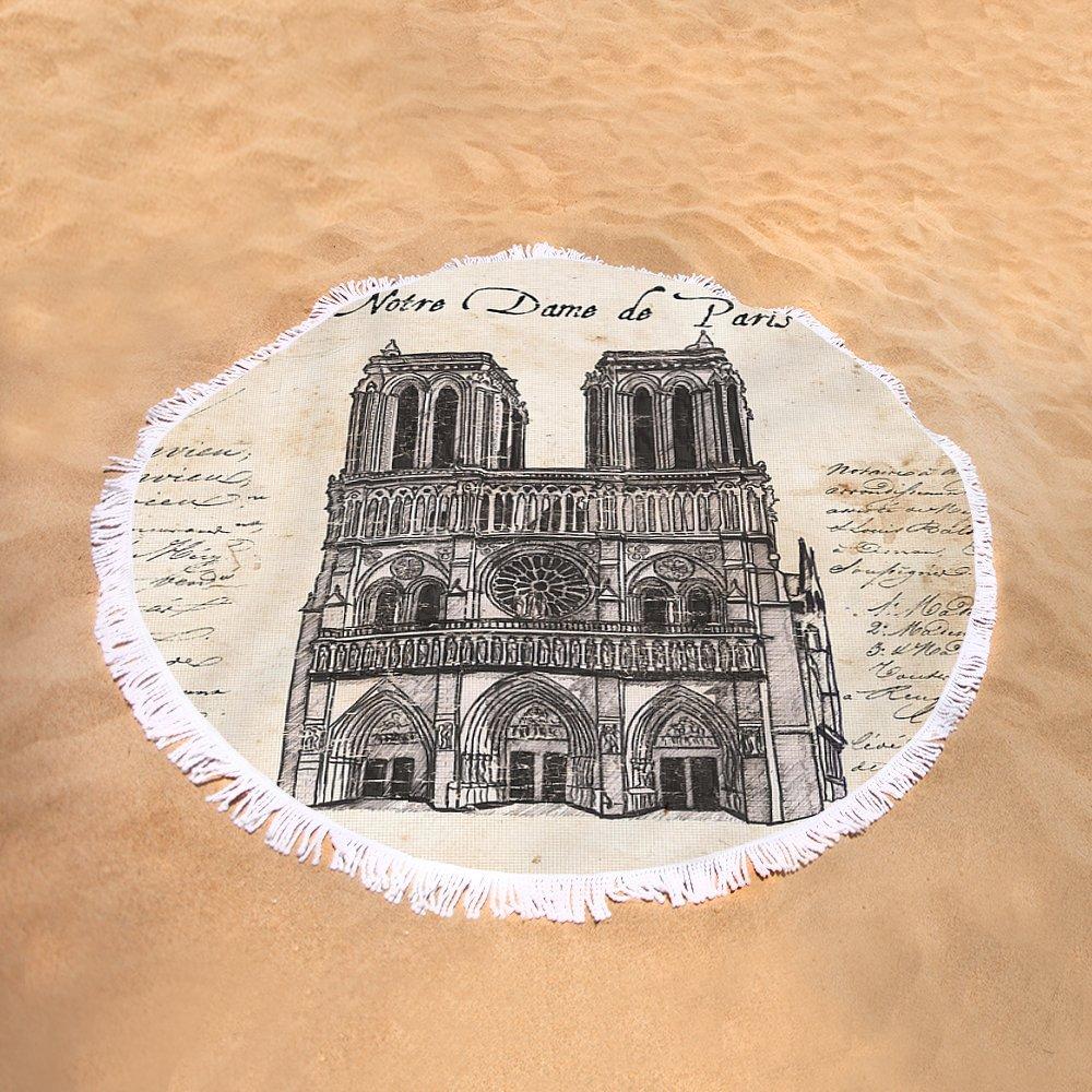 Pixels Round Beach Towel With Tassels featuring ''Notre Dame De Paris'' by Debbie DeWitt
