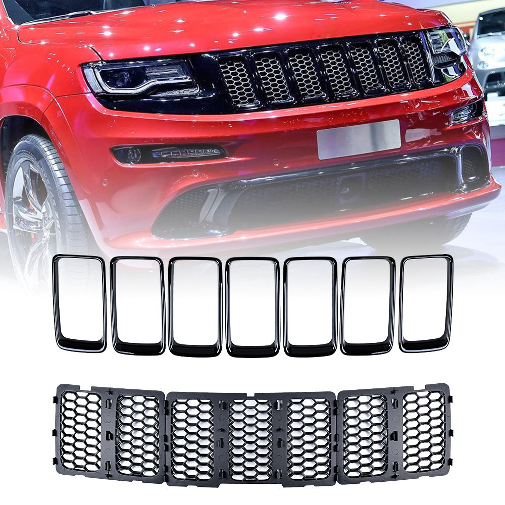 Astra-Depot Front Upper Grill Grille Inserts Compatible with 2014-2016 Jeep Grand Cherokee Chrome Honeycomb Mesh /& Gloss Black Rings Trim