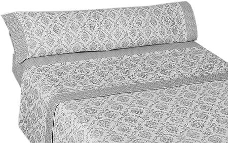 Montse Interiors, S.L. Juego de Sábanas Térmica de Franela 170gr/m2 Algodón 100% Ornament Gris (Berna Gris, para Cama de 105x190/200): Amazon.es: Hogar