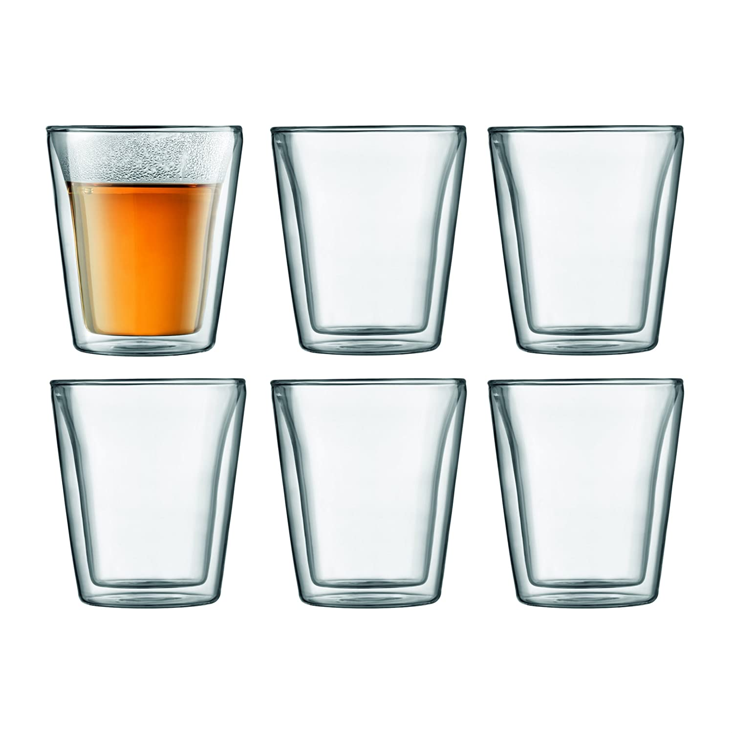 BODUM Canteen Double Wall Glass Set, Mouth Blown Borosilicate Glass - 0.1 L, Transparent, Pack of 2 10108-10US 3 oz Double walled Drinksware