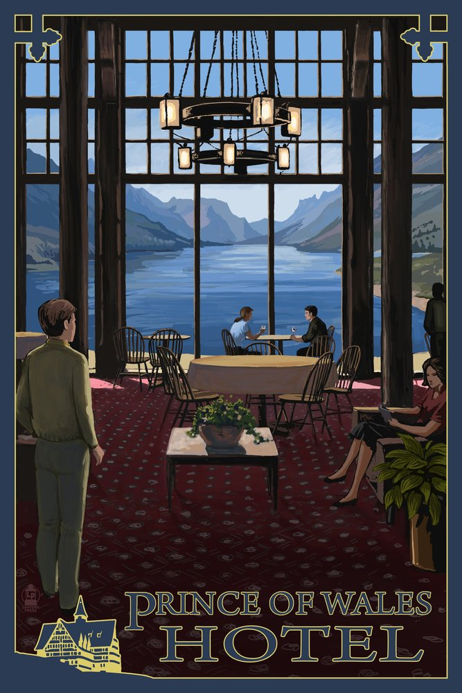 Waterton National Park - Prince of Wales Hotel Interior (12x18 Art Print, Wall Decor Travel Poster)