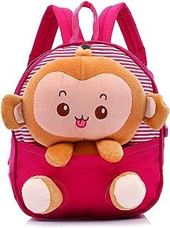 Sac à Dos Enfant Garderie Maternelle Avec Corde de traction Sac Creche Sac Animaux École Cartoon Mignon pour bébé fille garçon 1-4 ans-singe rouge (Rouge)