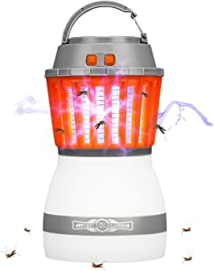 Rhino Valley Zapper LED Lamp [Newest Version], 2 in 1 Waterproof Portable Camping Lantern, Mosquito Killer for Outdoors, Indoors, Camping, Home & Travelling, Orange + White
