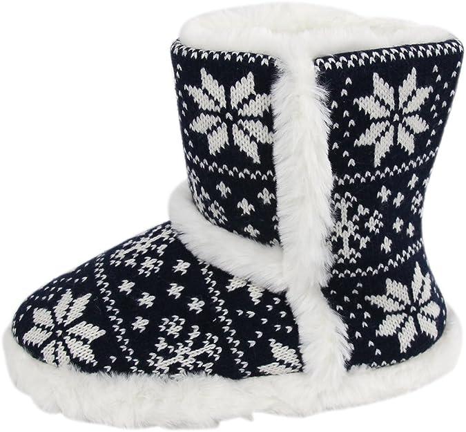 Femmes//Femmes Tricot Style Bootie Slippers//Indoor Chaussures Avec Pompon design