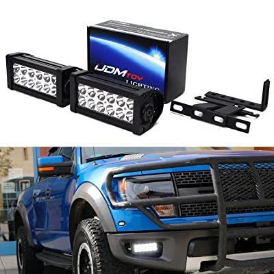 iJDMTOY LED Light Bar Fog Lamp Kit Compatible With 2010-14 Ford Raptor SVT, Includes (2) 36W High Power LED Lightbars, Lower Bumper Opening Area Mounting Brackets & On-Off Switch Wiring: Automotive