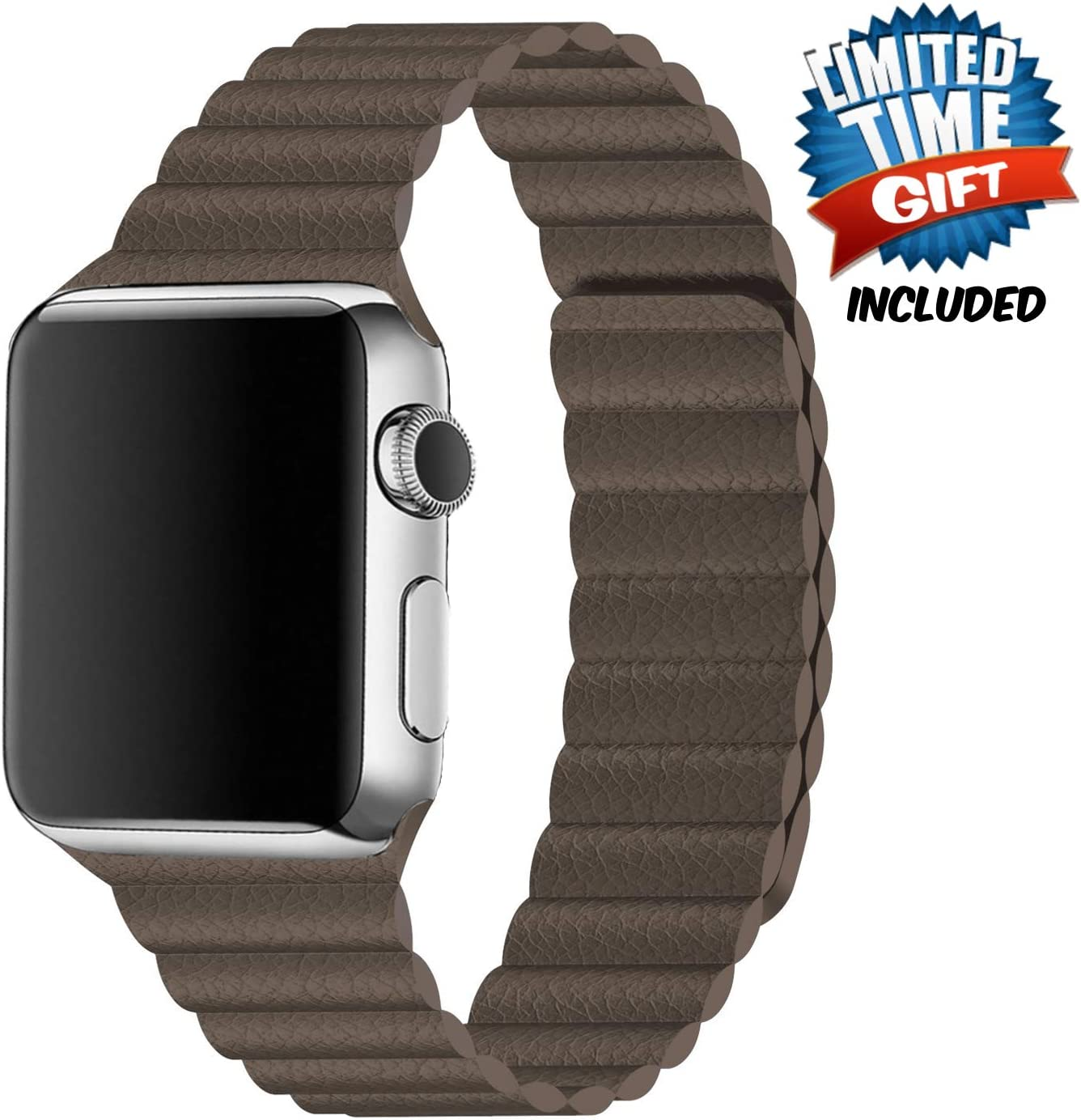 Inno-Huntz Leather Band Compatible with Apple Watch 38mm 42mm Classic Strap Replacement Strap for IWatch Series 5 4 3 2 1 Strong Magnetic Closure Wristband for Men Women (Brown, 38mm/40mm)
