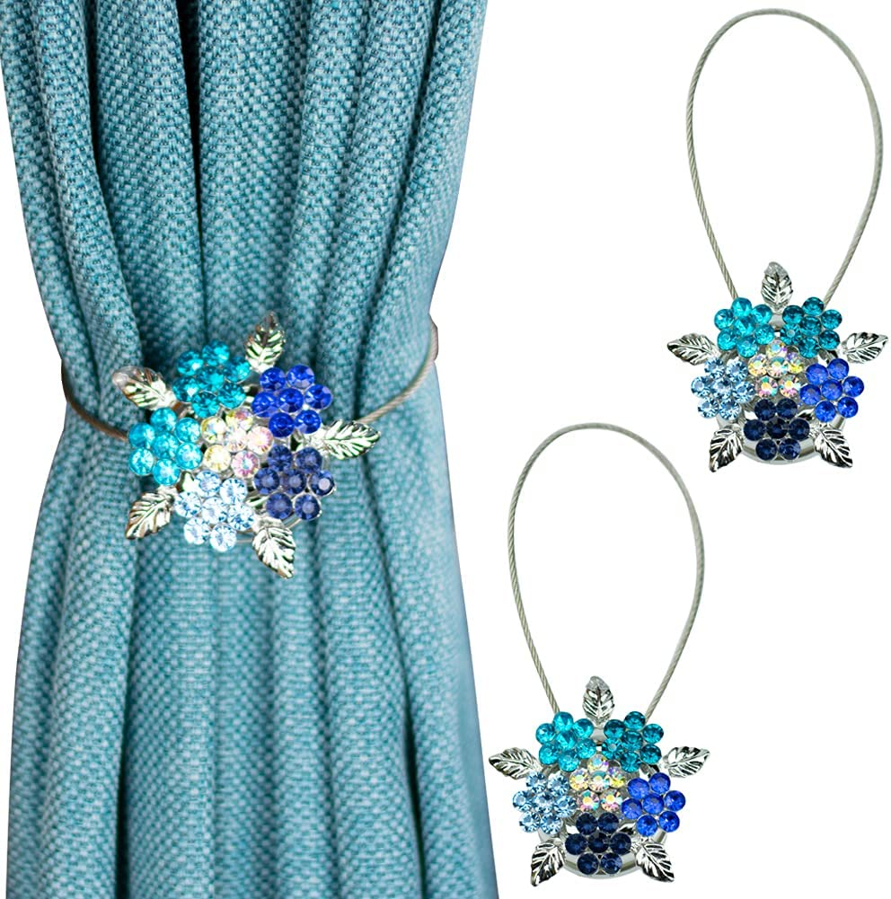 Mikomer 2PCS Magnetic Curtain Holdbacks Tiebacks Clips Holder Rope Tie Backs Buckle with Colorful Shining Crystal Flower and Stainless Steel Wire Rope for Home Office Decoration